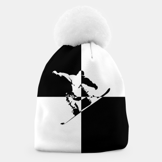 Thumbnail image of Black and White Snow Boarder Beanie, Live Heroes