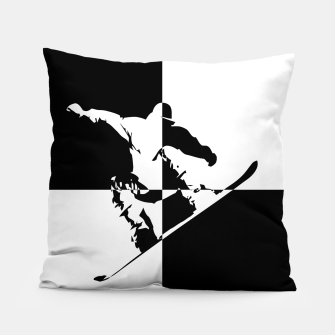 Thumbnail image of Black and White Snow Boarder Pillow, Live Heroes
