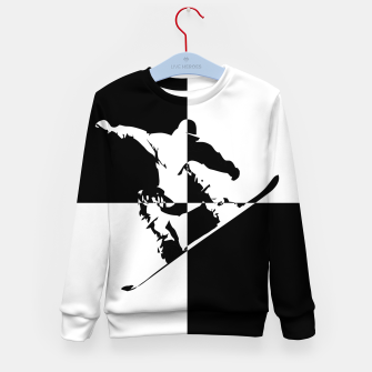 Thumbnail image of Black and White Snow Boarder Kid's sweater, Live Heroes