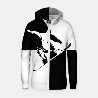 Thumbnail image of Black and White Snow Boarder Cotton zip up hoodie, Live Heroes