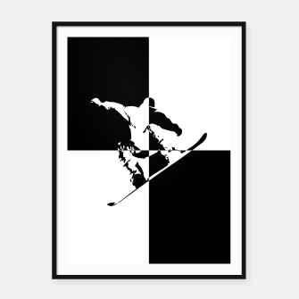Thumbnail image of Black and White Snow Boarder Framed poster, Live Heroes