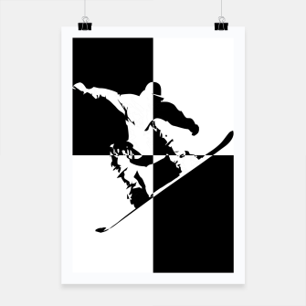 Thumbnail image of Black and White Snow Boarder Poster, Live Heroes