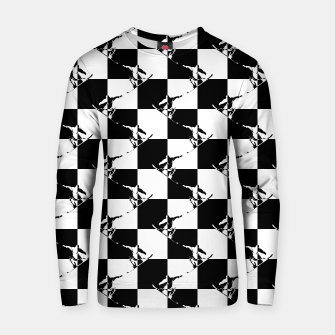 Thumbnail image of Black and White Snow Board Check Pattern Cotton sweater, Live Heroes