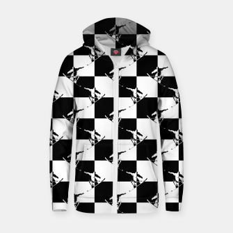 Thumbnail image of Black and White Snow Board Check Pattern Cotton zip up hoodie, Live Heroes