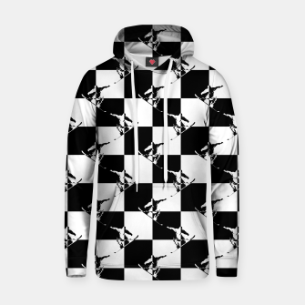 Thumbnail image of Black and White Snow Board Check Pattern Cotton hoodie, Live Heroes