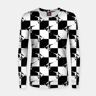 Thumbnail image of Black and White Snow Board Check Pattern Woman cotton sweater, Live Heroes