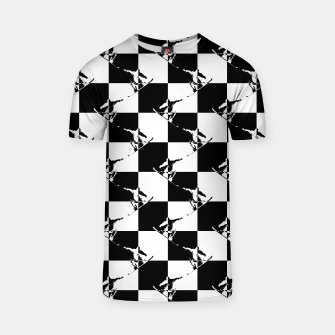 Thumbnail image of Black and White Snow Board Check Pattern T-shirt, Live Heroes
