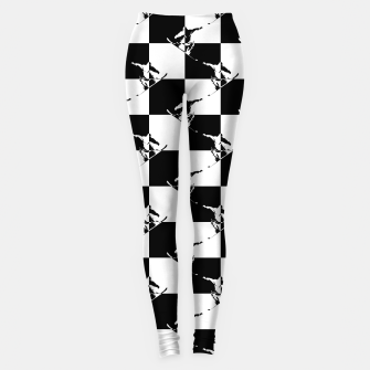 Thumbnail image of Black and White Snow Board Check Pattern Leggings, Live Heroes