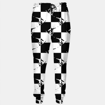 Thumbnail image of Black and White Snow Board Check Pattern Cotton sweatpants, Live Heroes