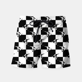 Thumbnail image of Black and White Snow Board Check Pattern Swim Shorts, Live Heroes