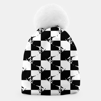 Thumbnail image of Black and White Snow Board Check Pattern Beanie, Live Heroes