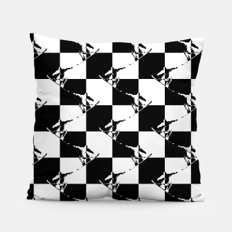 Thumbnail image of Black and White Snow Board Check Pattern Pillow, Live Heroes