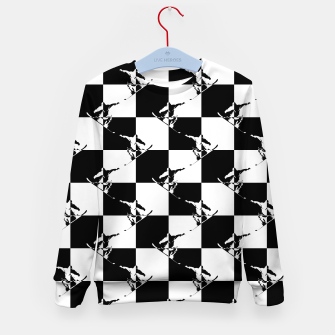 Thumbnail image of Black and White Snow Board Check Pattern Kid's sweater, Live Heroes