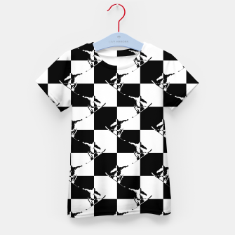 Thumbnail image of Black and White Snow Board Check Pattern Kid's t-shirt, Live Heroes