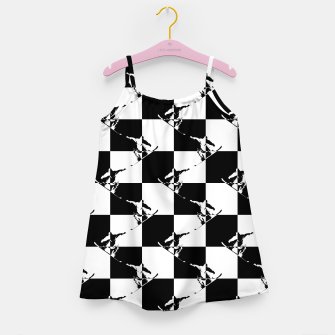 Thumbnail image of Black and White Snow Board Check Pattern Girl's dress, Live Heroes