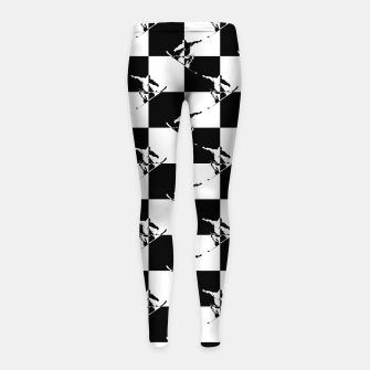Thumbnail image of Black and White Snow Board Check Pattern Girl's leggings, Live Heroes