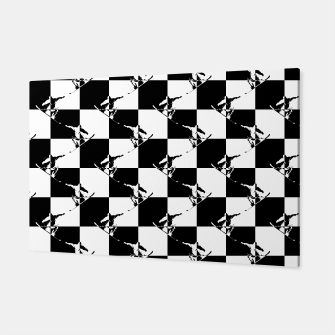 Thumbnail image of Black and White Snow Board Check Pattern Canvas, Live Heroes