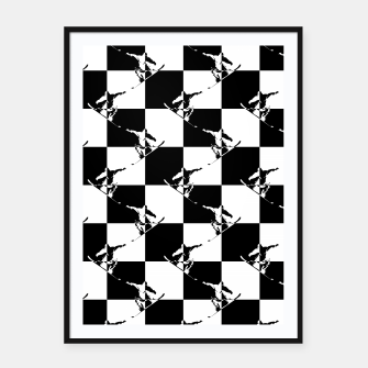 Thumbnail image of Black and White Snow Board Check Pattern Framed poster, Live Heroes