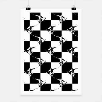 Thumbnail image of Black and White Snow Board Check Pattern Poster, Live Heroes