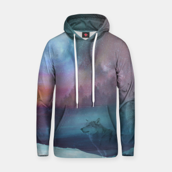 Thumbnail image of Howling at the moon Cotton hoodie, Live Heroes