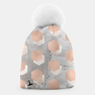 Thumbnail image of Design beanie with Diagonals blocks pink grey, Live Heroes