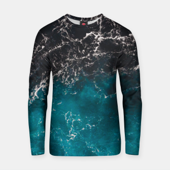 Thumbnail image of Wavy foamy blue black ombre sea water Cotton sweater, Live Heroes