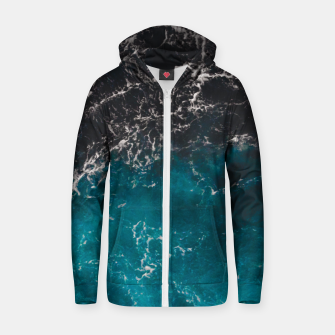 Thumbnail image of Wavy foamy blue black ombre sea water Cotton zip up hoodie, Live Heroes