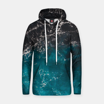 Thumbnail image of Wavy foamy blue black ombre sea water Cotton hoodie, Live Heroes