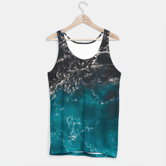 Miniaturka Wavy foamy blue black ombre sea water Tank Top, Live Heroes