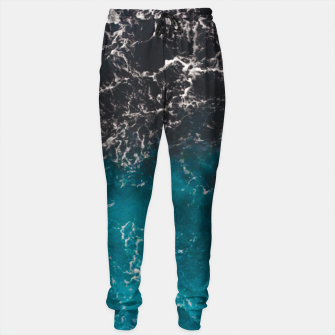 Thumbnail image of Wavy foamy blue black ombre sea water Cotton sweatpants, Live Heroes