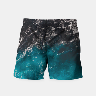 Thumbnail image of Wavy foamy blue black ombre sea water Swim Shorts, Live Heroes
