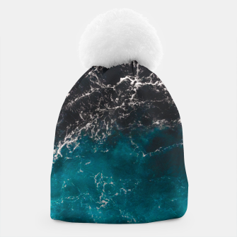 Thumbnail image of Wavy foamy blue black ombre sea water Beanie, Live Heroes