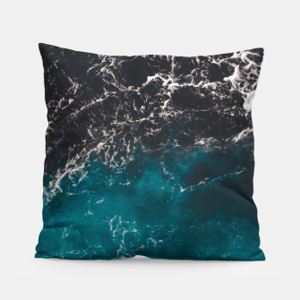 Thumbnail image of Wavy foamy blue black ombre sea water Pillow, Live Heroes