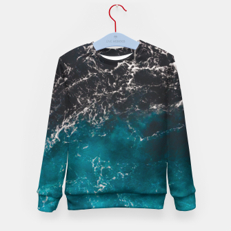 Thumbnail image of Wavy foamy blue black ombre sea water Kid's sweater, Live Heroes