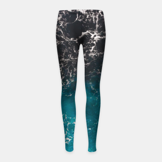 Thumbnail image of Wavy foamy blue black ombre sea water Girl's leggings, Live Heroes