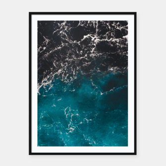 Thumbnail image of Wavy foamy blue black ombre sea water Framed poster, Live Heroes