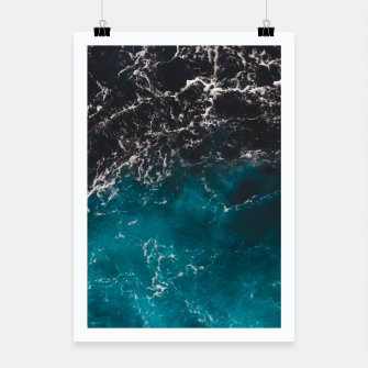 Thumbnail image of Wavy foamy blue black ombre sea water Poster, Live Heroes