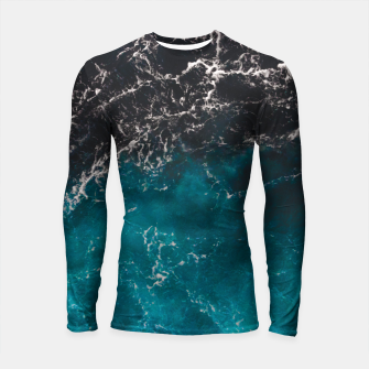 Thumbnail image of Wavy foamy blue black ombre sea water Longsleeve rashguard , Live Heroes