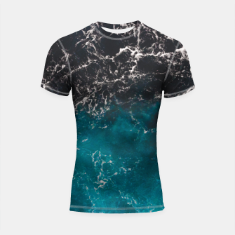 Thumbnail image of Wavy foamy blue black ombre sea water Shortsleeve rashguard, Live Heroes
