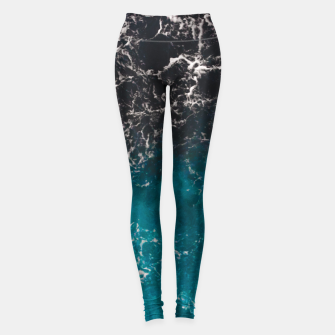 Thumbnail image of Wavy foamy blue black ombre sea water Leggings, Live Heroes