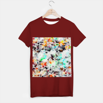 Thumbnail image of psychedelic geometric square pattern abstract background in blue orange red yellow green brown T-shirt regular, Live Heroes