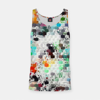 Thumbnail image of psychedelic geometric square pattern abstract background in blue orange red yellow green brown Tank Top, Live Heroes