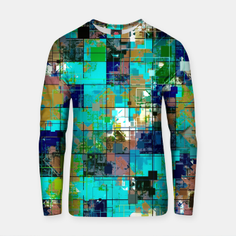 Thumbnail image of psychedelic geometric square pixel pattern abstract background in blue green brown Cotton sweater, Live Heroes