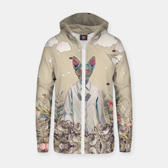 Thumbnail image of Floral cat Cotton zip up hoodie, Live Heroes