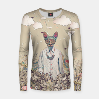Thumbnail image of Floral cat Woman cotton sweater, Live Heroes
