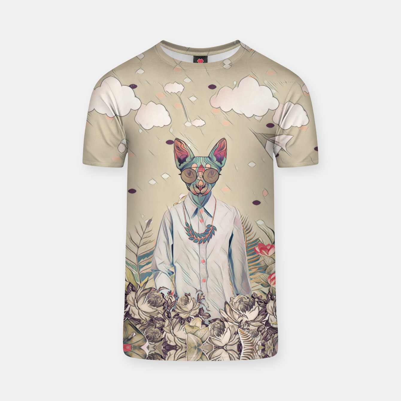 Image of Floral cat T-shirt - Live Heroes