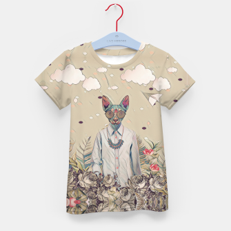 Thumbnail image of Floral cat Kid's t-shirt, Live Heroes
