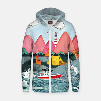 Thumbnail image of Lighthouse and the boat Cotton zip up hoodie, Live Heroes