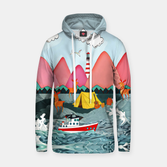 Thumbnail image of Lighthouse and the boat Cotton hoodie, Live Heroes