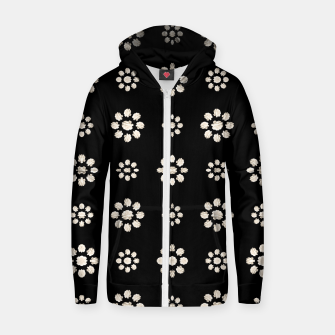 Thumbnail image of Dark Stylized Floral Pattern Cotton zip up hoodie, Live Heroes